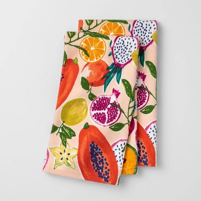 2pk Flat-Woven Hand Towels Fruits - Opalhouse™