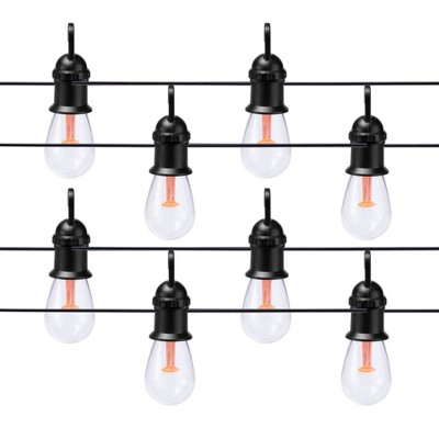 30' Heavy Duty Solar LED Cafe Lights - Black Wire - Merkury Innovations