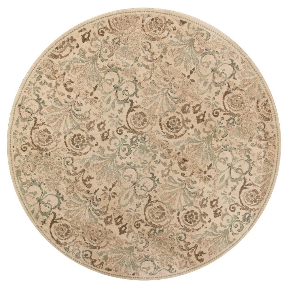 Ivory Damask Pressed/Molded Round Area Rug 7'7 - Kas Rugs, White