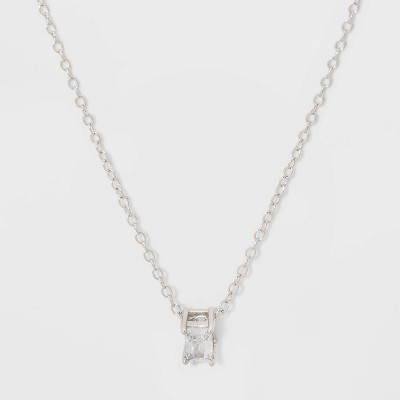 Baguette Cubic Zirconia Sterling Silver Necklace - A New Day™ Silver/Clear