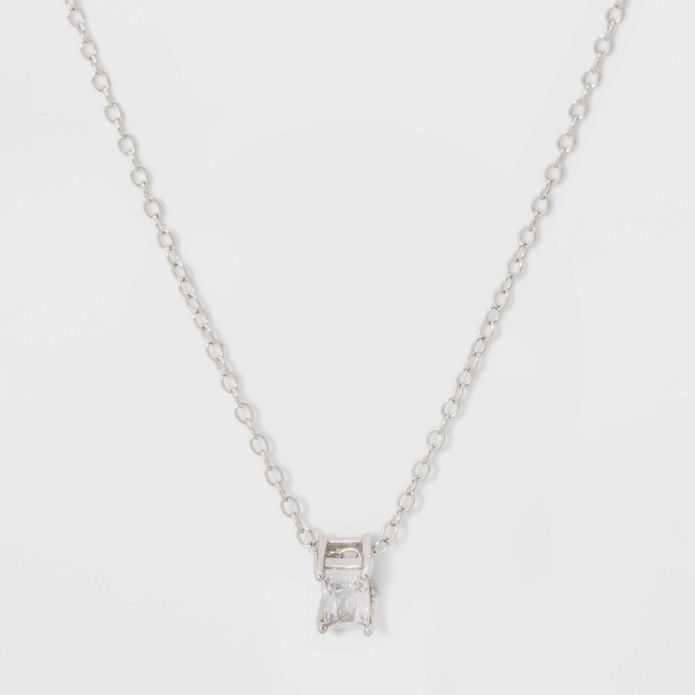 Image of Baguette Cubic Zirconia Sterling Silver Necklace - A New Day Silver/Clear, Women's, Size: Small