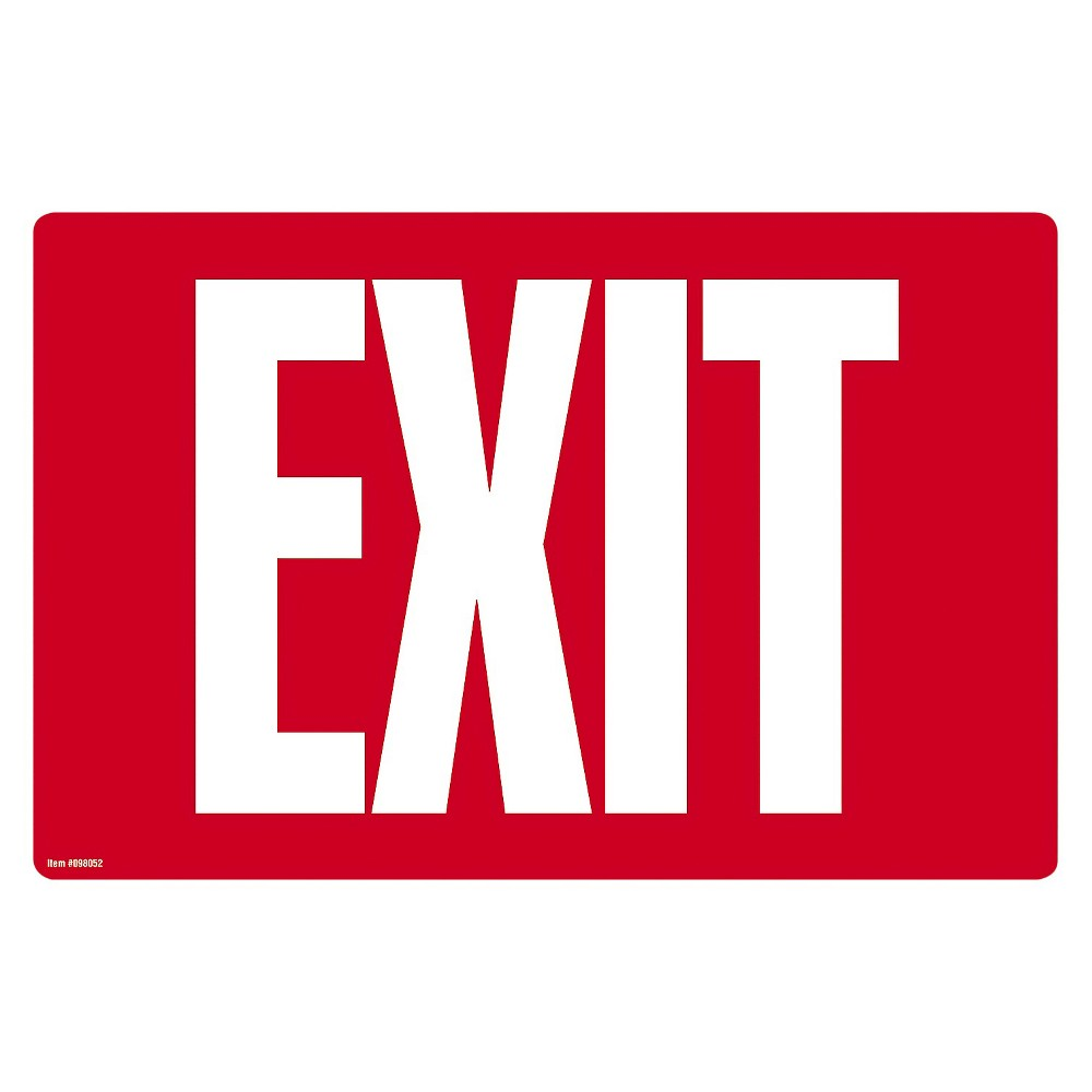 Cosco Glow - in - the - Dark Safety Sign - Exit - 12 x 8 - Red