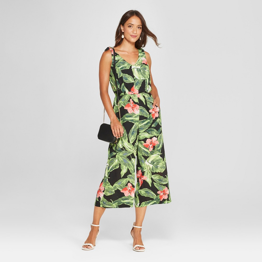 Image of Women's Floral Print Sleeveless Wide Leg Jumpsuit - Lux II - Green 8