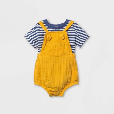 Baby Boys' Gauze Bubble Overalls Top & Bottom Set - Cat & Jack™ Mustard