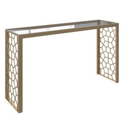 Juliette Glass Top Console Table Metal Gold - CosmoLiving by Cosmopolitan
