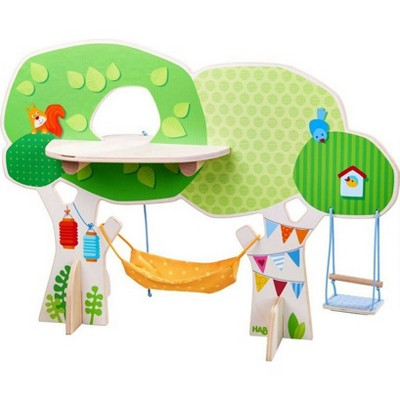 HABA Little Friends Tree House Wooden Play Set with Ladder, Platform, Swing and Hammock