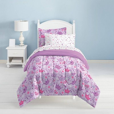 Stars and Crown Mini Bed in a Bag Purple - Dream Factory