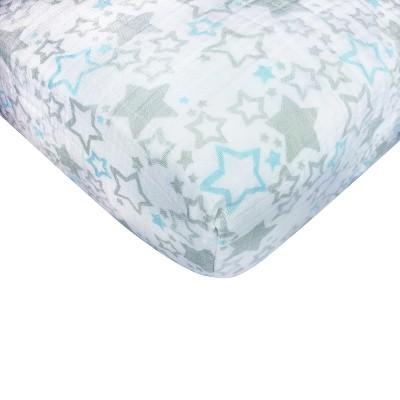 SwaddleDesigns® Cotton Muslin Crib Sheet - Pastel Blue Starshine Shimmer