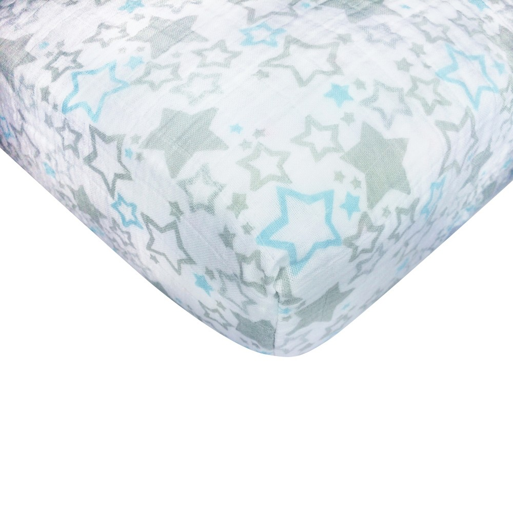 Image of SwaddleDesigns Cotton Muslin Crib Sheet - Pastel Blue Starshine Shimmer, Blue Shimmer