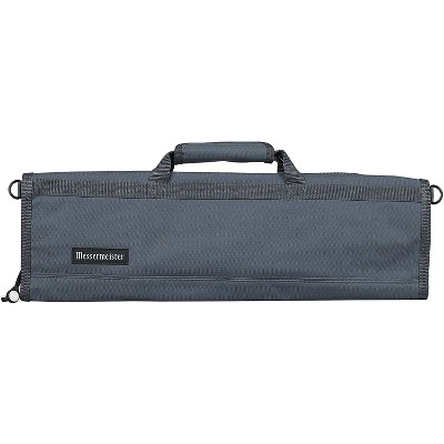 Messermeister Heavy Duty 8 Pocket Padded Nylon Knife Culinary Roll Up Luggage Case with Large Pocket, Gray