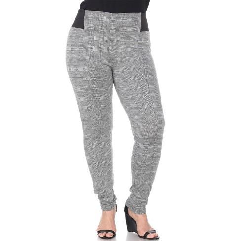 Women's Plus Size Jacquard Slim Pants - White Mark - image 1 of 3
