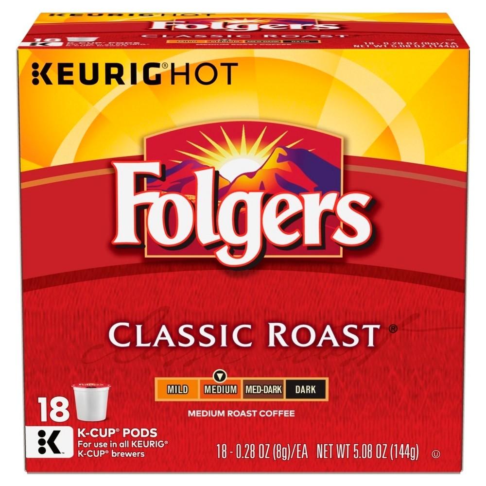 Folgers Gourmet Selections Classic Medium Roast Coffee - Keurig K-Cups Pods - 18ct