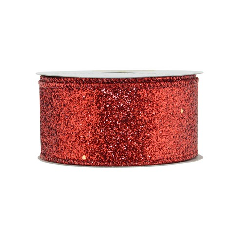 "Offray Glitterie Ribbon - 1-1/2"" x 9ft - Red - image 1 of 2"