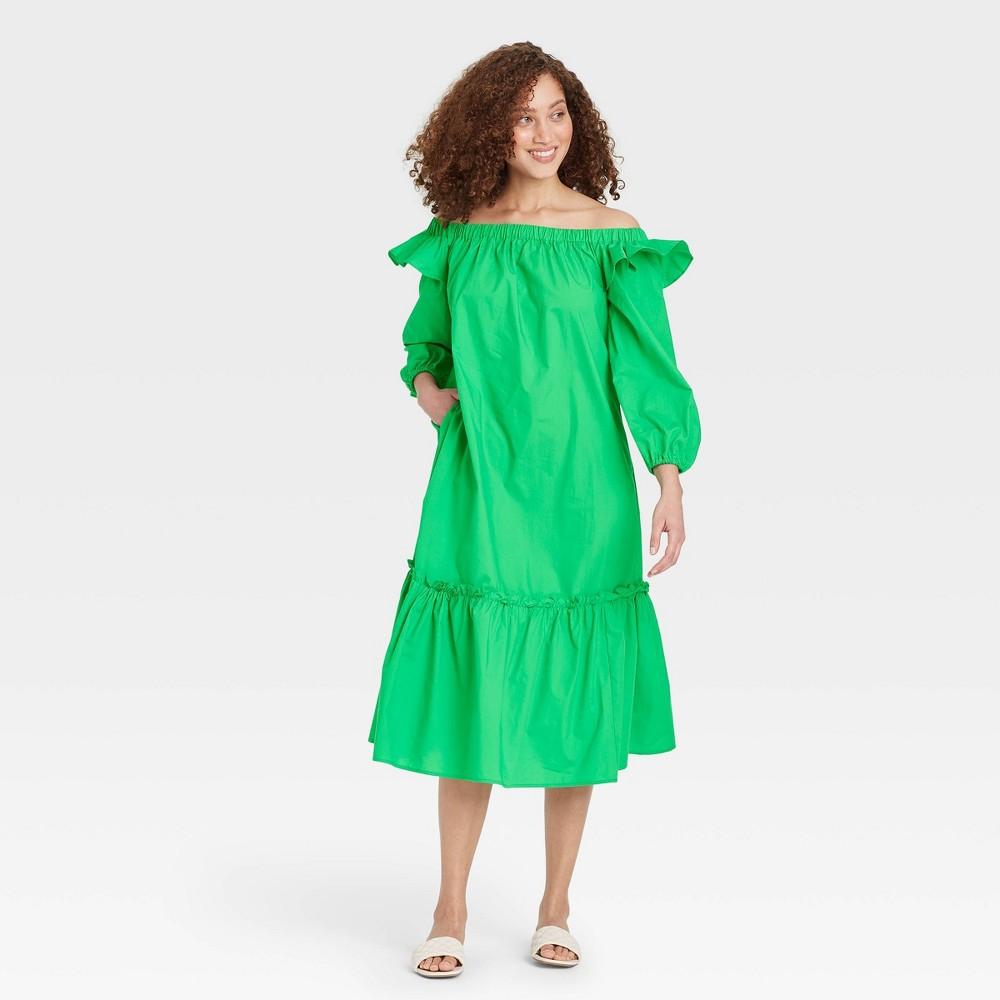 Women 39 S Balloon Long Sleeve Dress Who What Wear 8482 Green S