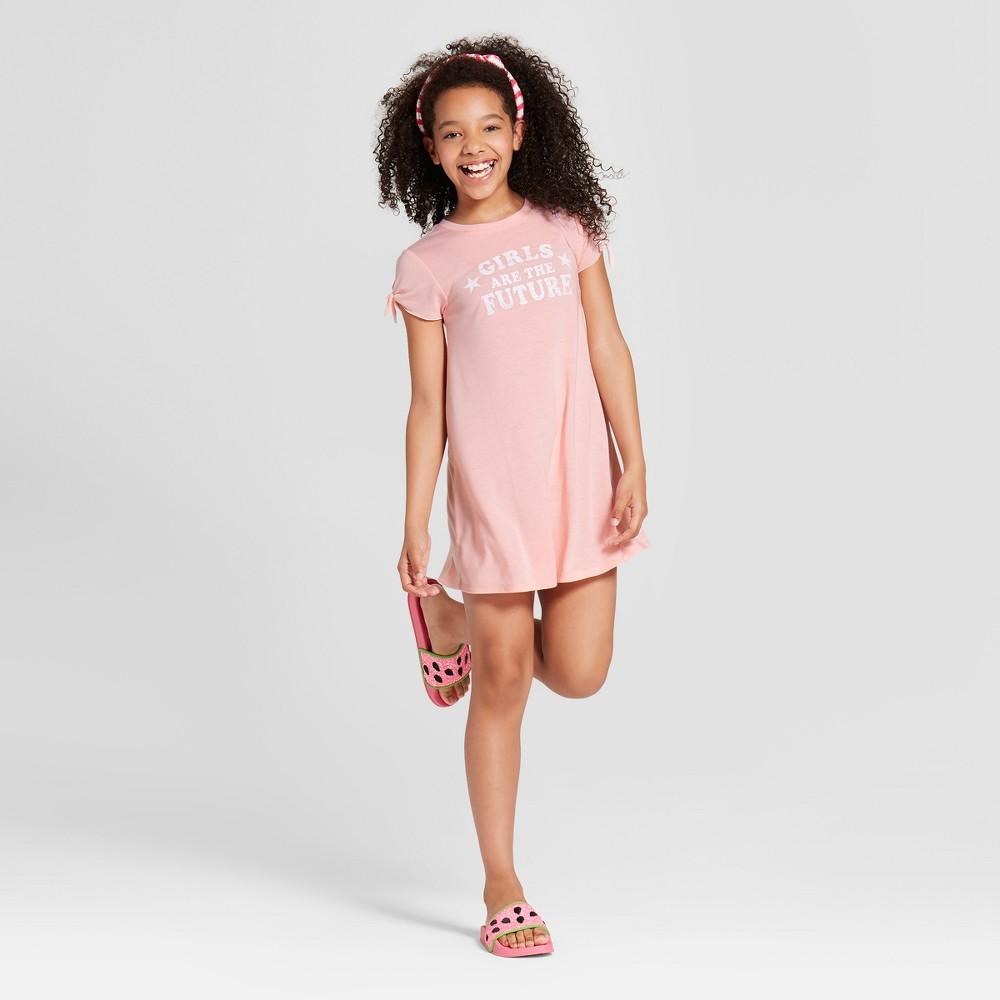 Grayson Social Girls' 'Girls Are The Future' Graphic T-Shirt Dress - Light Pink XS