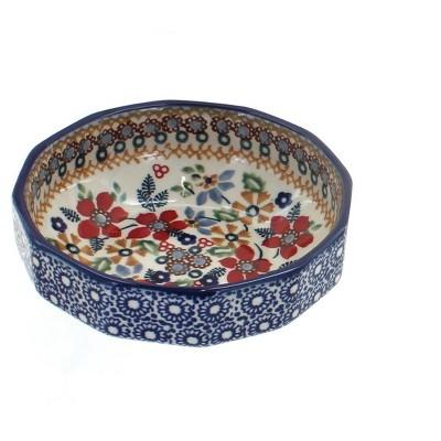 Blue Rose Polish Pottery Red Daisy Small Angular Bowl
