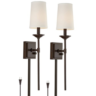 Franklin Iron Works Viola Oil-Rubbed Bronze Finish Plug-In Wall Lamps Set of 2 with Cord Covers