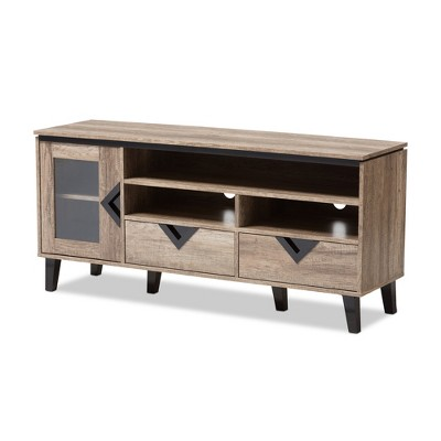 """Cardiff Modern and Contemporary Wood TV Stand for TVs up to 55"""" - Light Brown - Baxton Studio"""