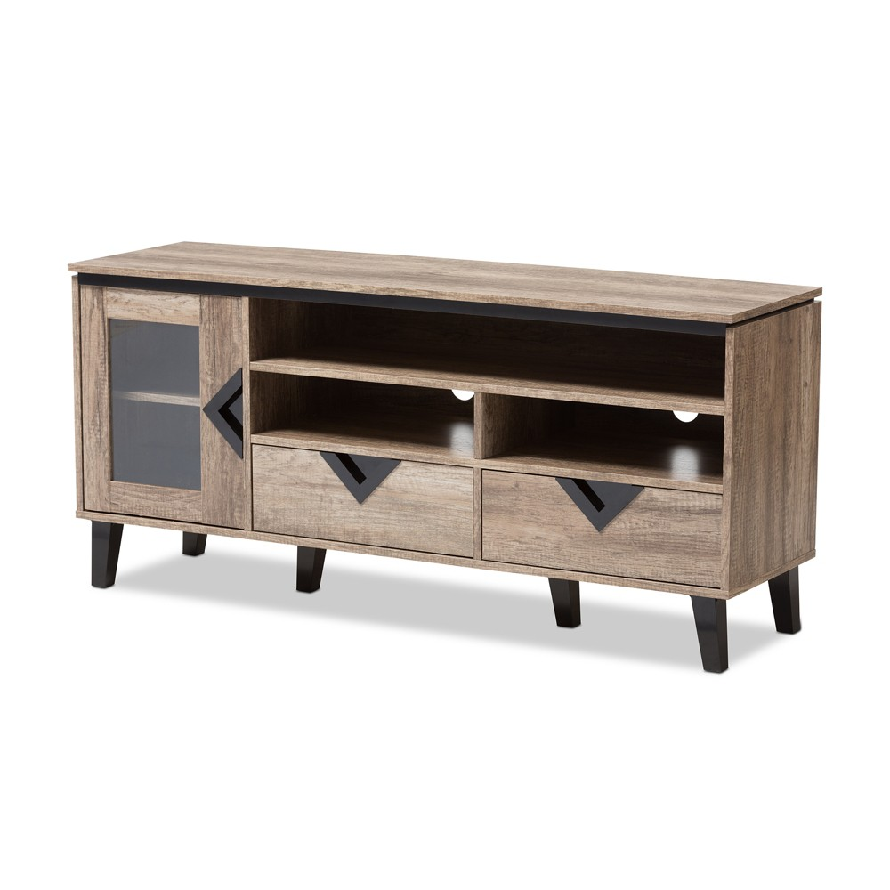 55 Cardiff Modern and Contemporary Wood TV Stand - Light Brown - Baxton Studio