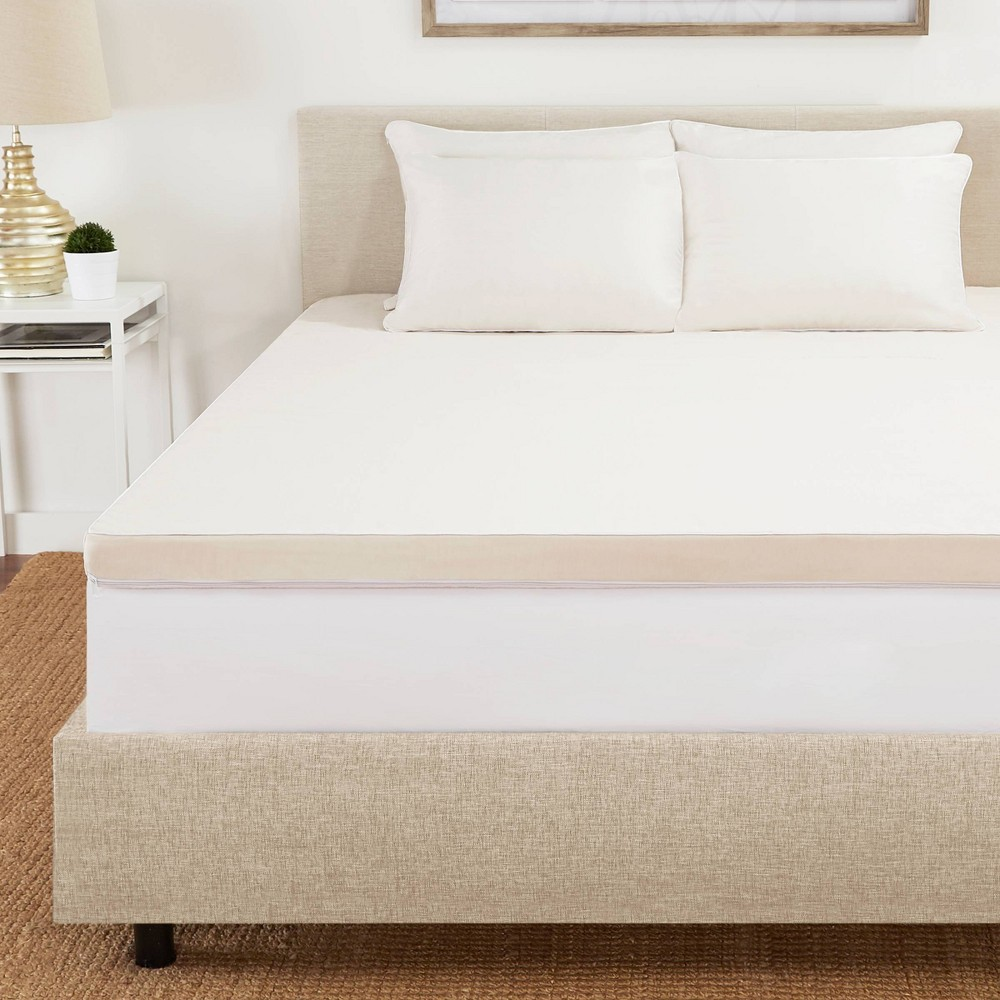 "Image of ""Full 2"""" Copper Infused Gel Memory Foam Mattress Topper with Copper Embedded Cover Beige - CopperFresh"""