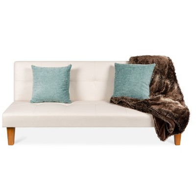 Best Choice Products Convertible Lounge Sofa Bed w/ Adjustable BackWood FrameFaux LeatherTufted Design