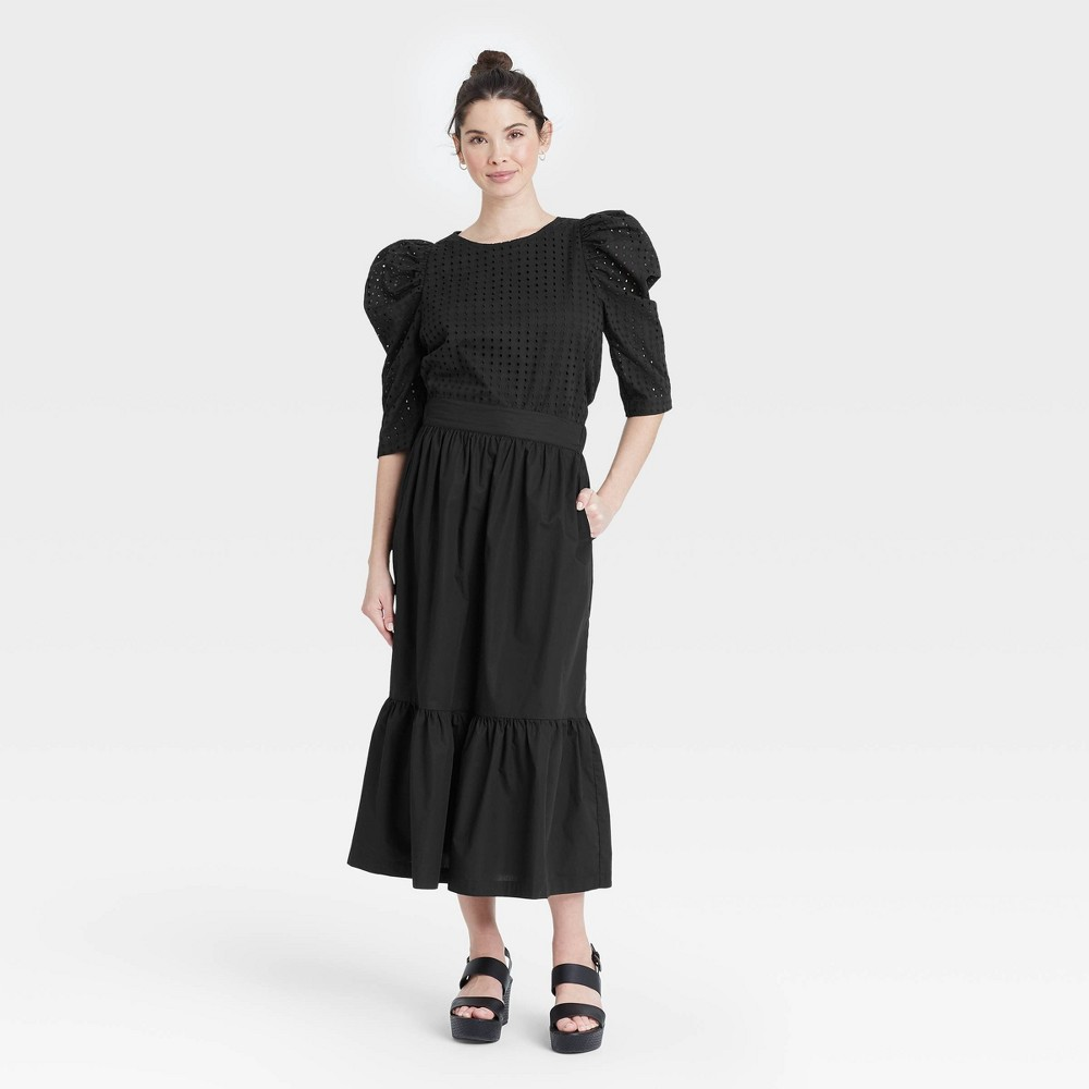 Women 39 S Elbow Sleeve Eyelet Top A New Day 8482 Black 160 L