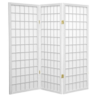 4 ft. Tall Window Pane Shoji Screen 3 Panels - Oriental Furniture