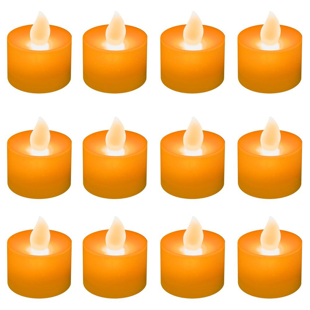 Image of 12ct Battery Operated LED Tea Lights Orange