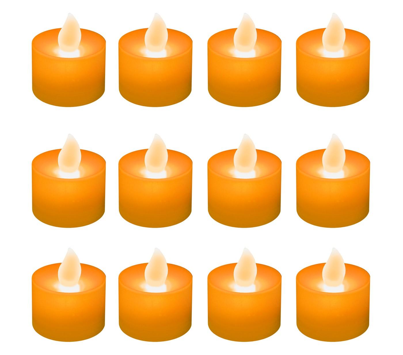 12ct Battery Operated LED Tea Lights - Orange - image 1 of 3