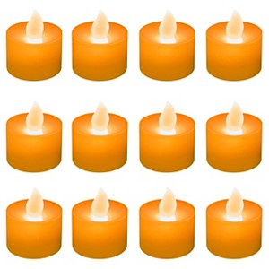 12ct Battery Operated LED Tea Lights Orange