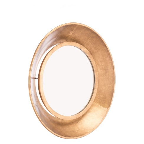 "ZM Home 18"" Modern Industrial Round Mirror Gold - image 1 of 3"