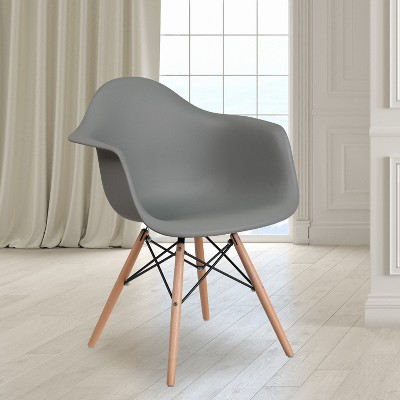Flash Furniture Alonza Series Plastic Chair with Arms and Wooden Legs