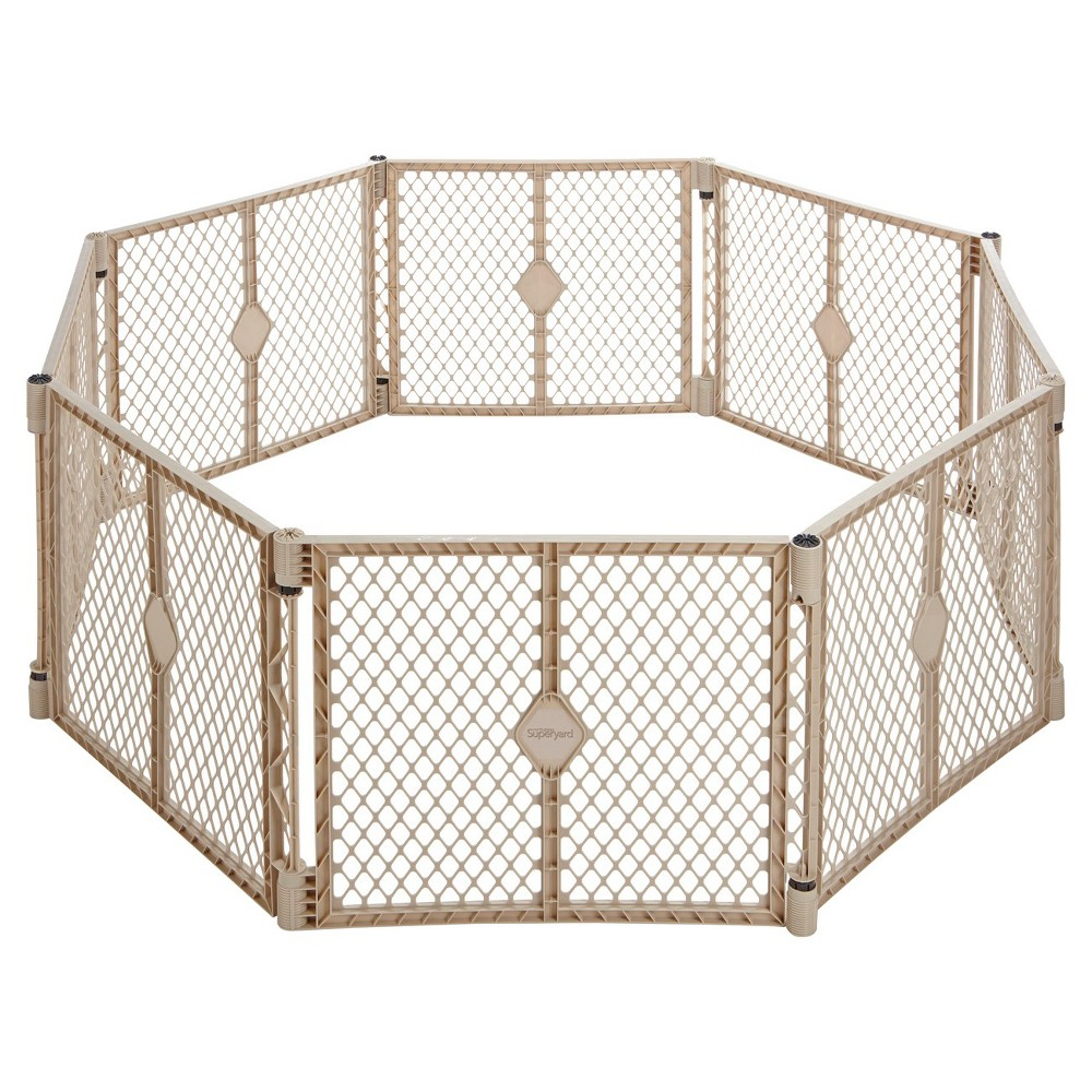Image of Toddleroo By North States Superyard Indoor Outdoor 8 Panel Freestanding Gate, White