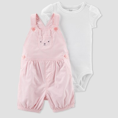 Baby Girls' 2pc Stripe Bunny Shortall Set - Just One You® made by carter's Pink Newborn