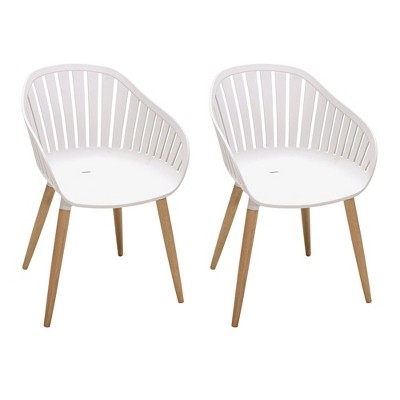 2pk Nassau Outdoor Arm Dining Chairs with Wood legs- - Armen Living