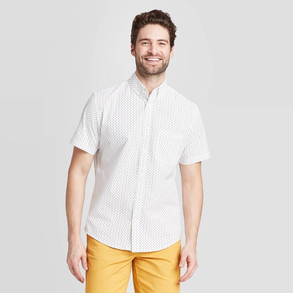 Men's Polka Dot Standard Fit Short Sleeve Button-Down Shirt - Goodfellow & Co Cream S, Ivory was $19.99 now $12.0 (40.0% off)