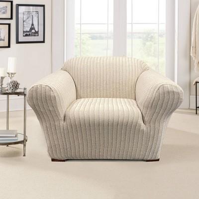 Stretch Printed Velvet Dottie Chair Slipcover Cream - Sure Fit