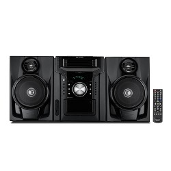Sharp 5-Disc Mini Shelf Speaker System with Cassette Player, Bluetooth, and USB Port for MP3 Playback - Black (CD-BH950)
