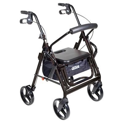 Drive Medical Duet Dual Function Transport Wheelchair Walker Rollator, Black