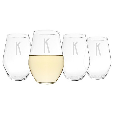 Cathy's Concepts 19 oz. Personalized Contemporary Stemless Wine Glasses (Set of 4) A-Z