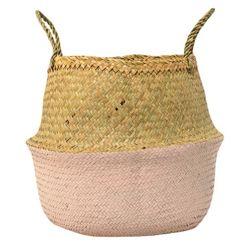 "Seagrass Basket with Handles - Natural/Rose (13"") - 3R Studios - image 1 of 2"