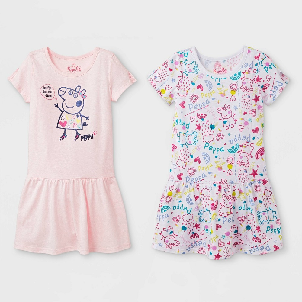 Toddler Girls 2pk Peppa Pig T-Shirt Dresses - White/Pink 2T Discounts