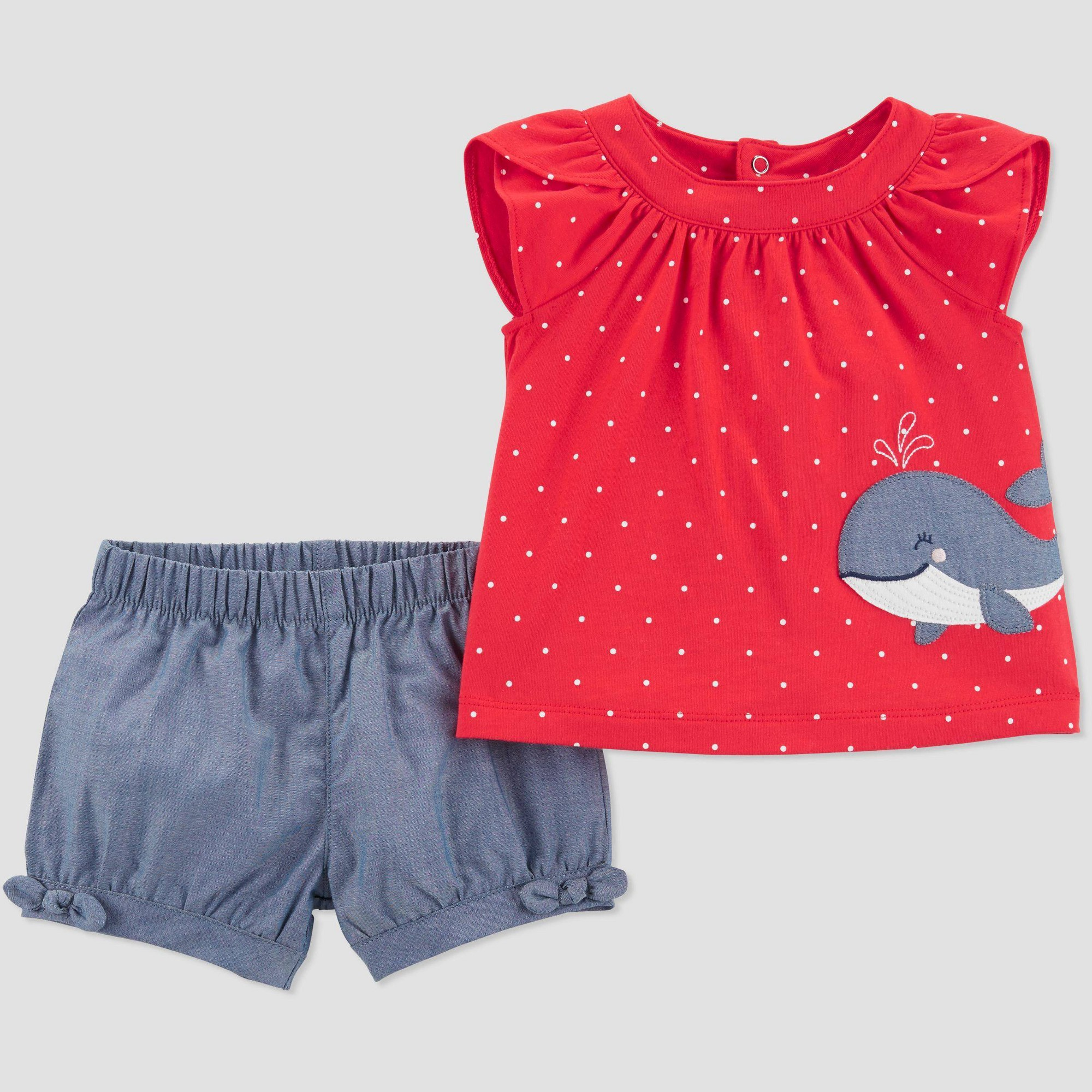 Toddler Girls' 2pc Chambray Whale Embroidered Top and Bottom Set - Just One You made by carter's Red/Blue 5T