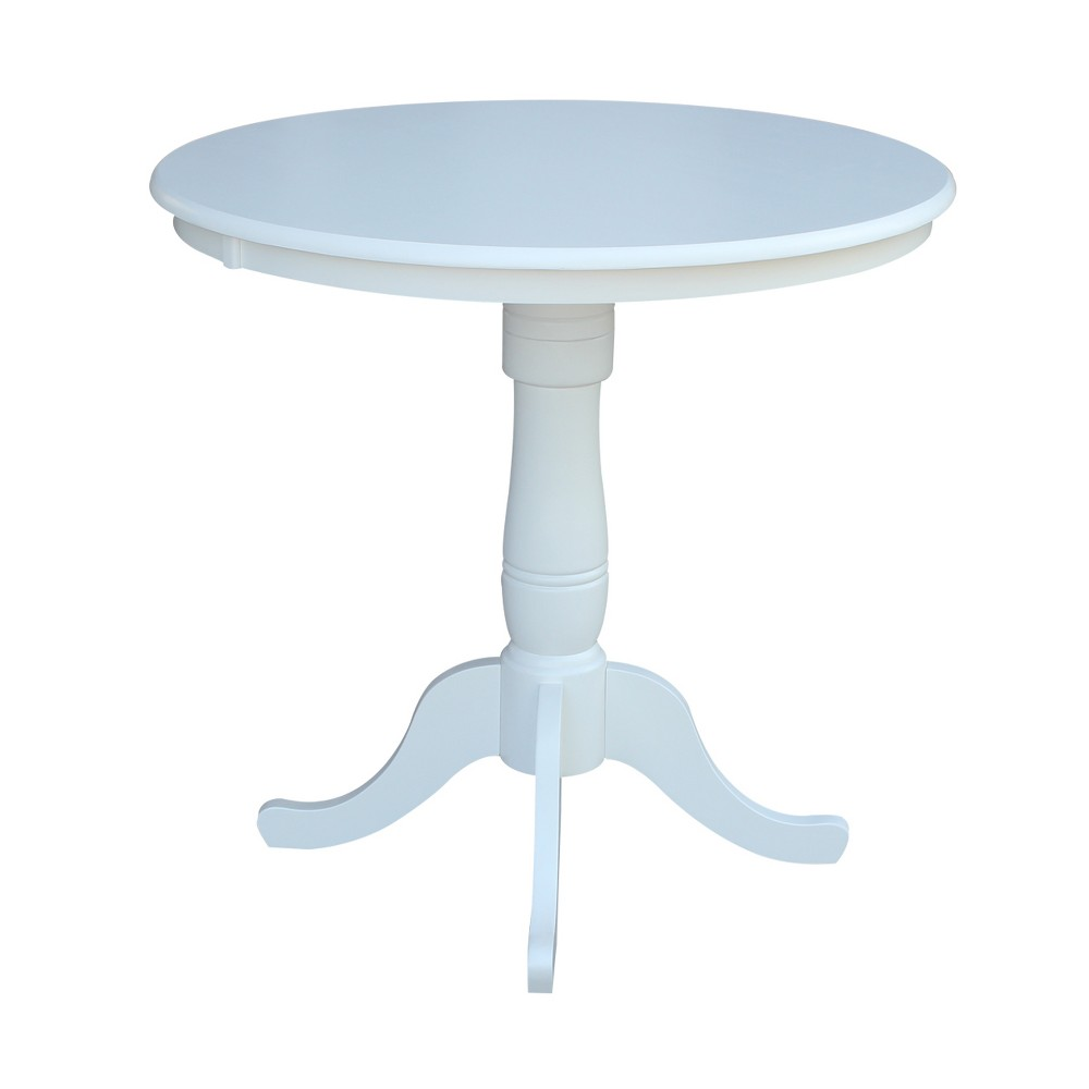 36 Round Top Pedestal Counter Height Table White - International Concepts
