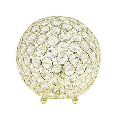 "8"" Crystal Ball Sequin Table Lamp Gold - Elegant Designs"