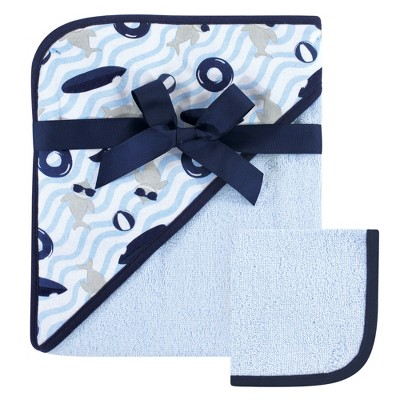 Hudson Baby Infant Boy Cotton Hooded Towel and Washcloth 2pc Set, Shark, One Size