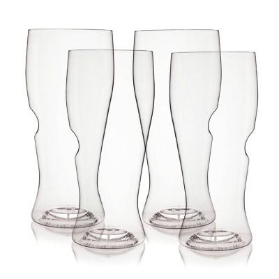 GoVino 16oz 4pk Plastic Pilsner Glasses