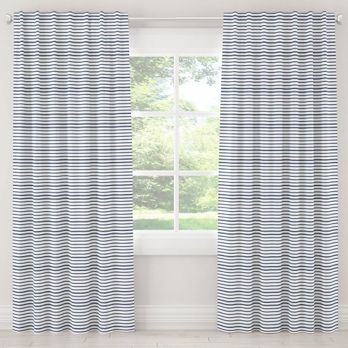 Unlined Nautical Stripped Light Filtering Curtain Panel Navy - Cloth & Co. - image 1 of 5
