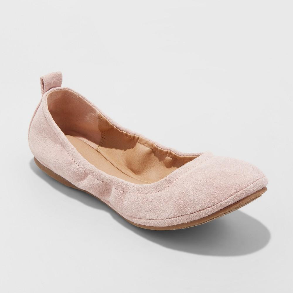 Women's Delaney Microsuede Round Toe Ballet Flats - Universal Thread Blush 9.5