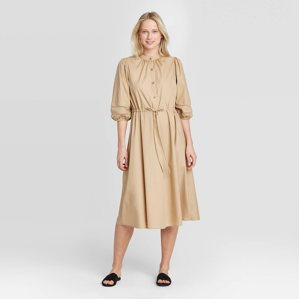 Women's Puff Elbow Sleeve Collared Shirtdress - Who What Wear Khaki XXL, Green was $36.99 now $25.89 (30.0% off)